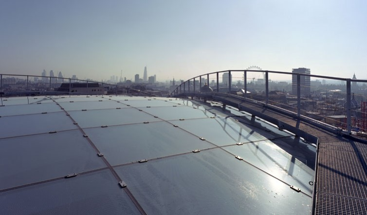 View from roof showing atrium glazing by Josef Gartner.1/18