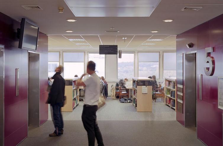 Warwick University Library, fifth floor lift lobby.2/17