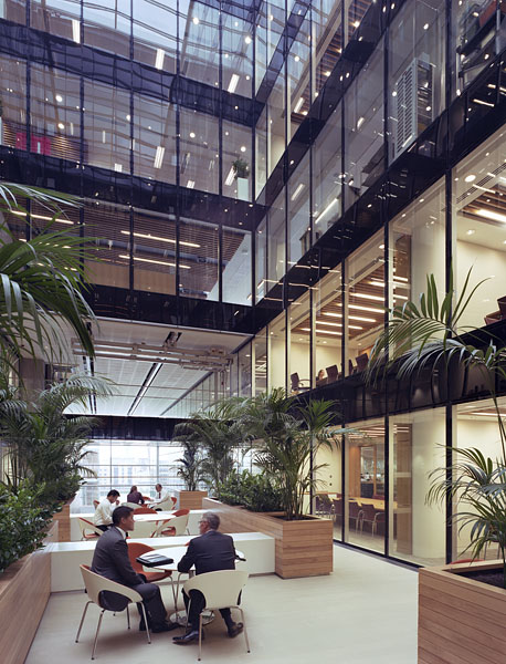 Watermark Place, London by Fletcher Priest Architects: second floor meeting spaces at the bottom of the atrium.2/48