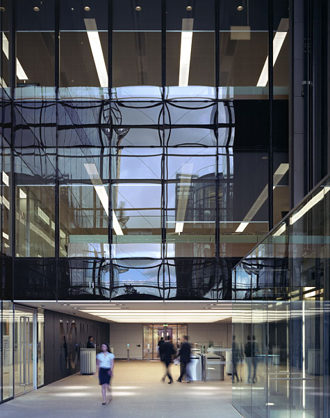 Watermark Place, London by Fletcher Priest Architects: atrium at ground floor level.4/48