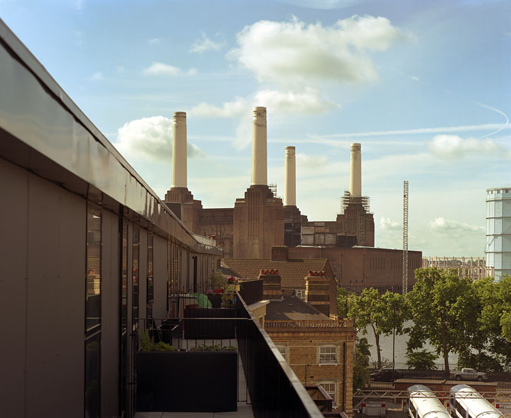 Peabody Avenue in Pimlico, London, Haworth Tompkins Architects: view from the penthouses toward Battersea Power Station.5/65