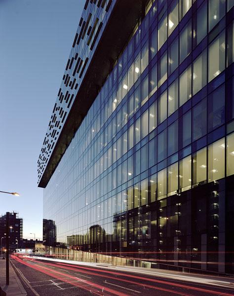 Palaestro building, Southwark, London, by SMC Alsop: dusk view.6/48