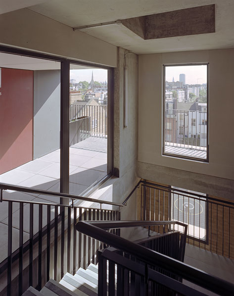 Peabody Avenue in Pimlico, London, Haworth Tompkins Architects: from the top of the stair core selected views are framed.8/65