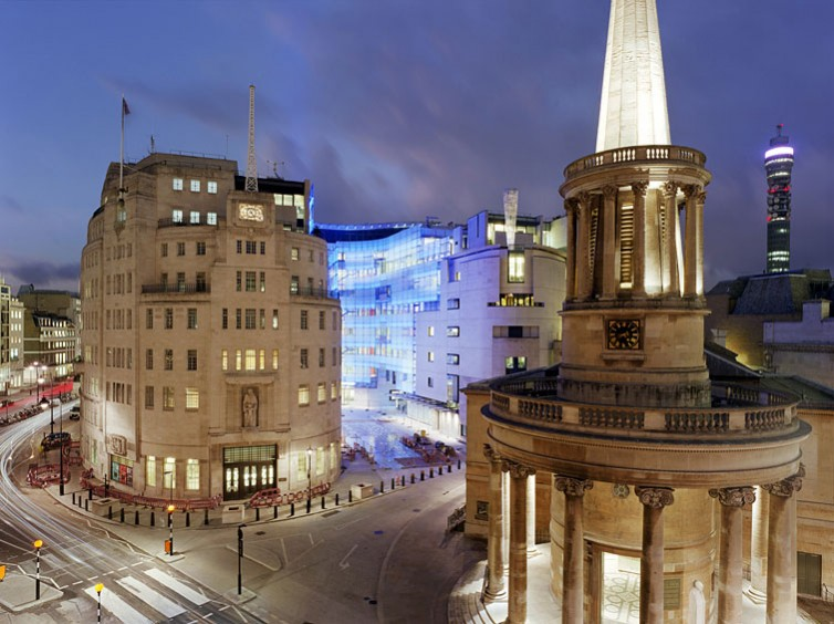 New BBC Broadcasting House, Portland Place, London, by various: dusk view.9/16