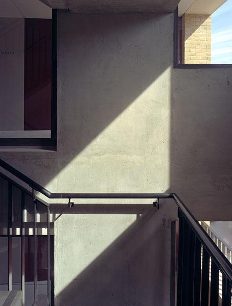Peabody Avenue in Pimlico, London, Haworth Tompkins Architects: the in-situ concrete stair core.9/65