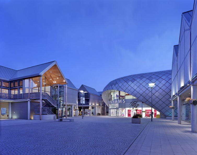 ARC Centre, Bury St Edmunds, by Hopkins Architects: dusk view of the new square.10/16