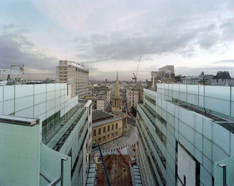 New BBC Broadcasting House in Portland Place, London, by Sheppard Robson Architects: view of the new building and All Souls Church.13/16