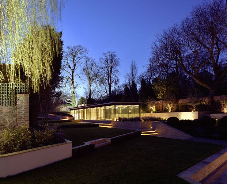 Pool House in Kingston-upon-Thames by Coup De Ville Architects: night exterior view.13/65