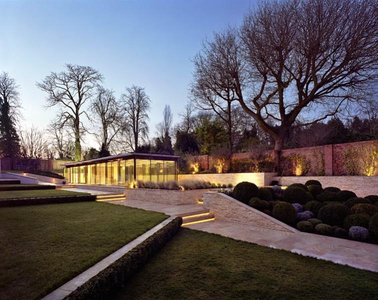 Pool House in Kingston-upon-Thames by Coup De Ville Architects: dusk view of the scheme and landscape.16/65