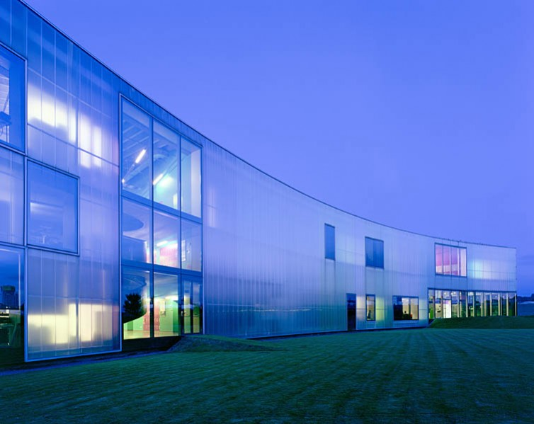 Laban Dance Centre, Herzog and De Meuron, Greenwich, London: dusk view.16/16