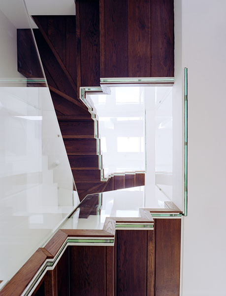 Staircase and residence in Hampstead, London, by Patrick Lewis Architects: looking up the stairwell.22/65