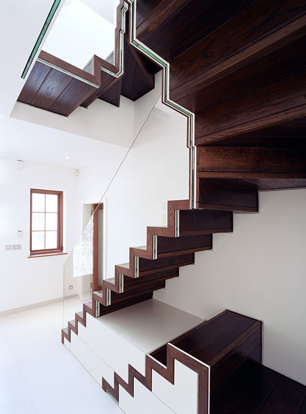 Staircase and residence in Hampstead, London, by Patrick Lewis Architects: the staircase from the ground floor.23/65