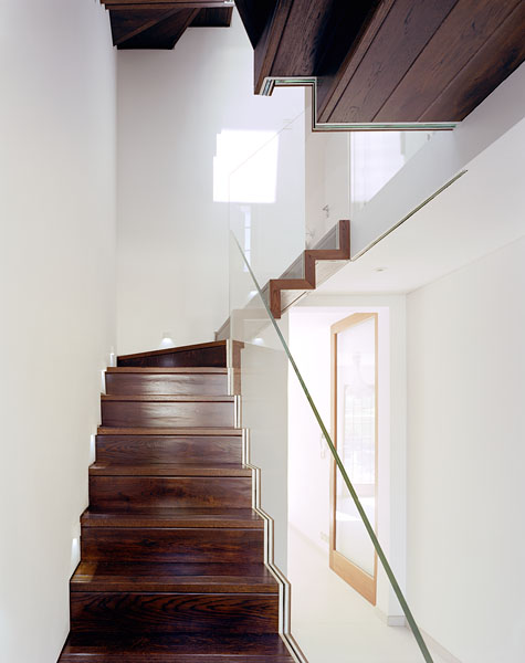 Staircase and residence in Hampstead, London, by Patrick Lewis Architects: the staircase from the ground floor.25/65
