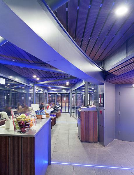 Cafe at John Watkins Plaza, LSE, London, bu MJP Architects: interior night view.26/48