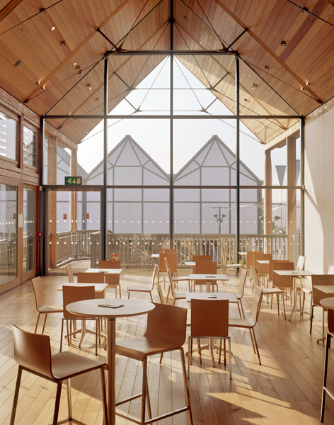 The ARC Centre, Bury St Edmunds, Suffolk, by Hopkins Architects: the first floor cafe in the Apex. 28/48