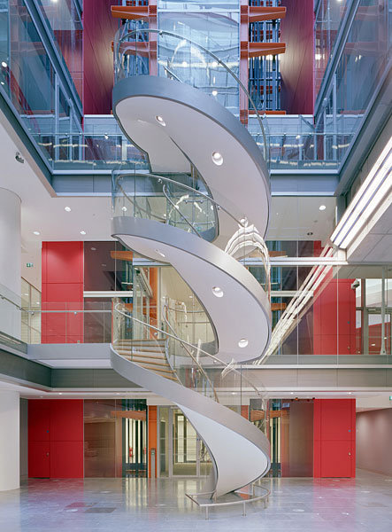 BBC New Broadcasting House, Portland Place, London, Sheppard Robson Architects: the staircase in the News Room.34/48