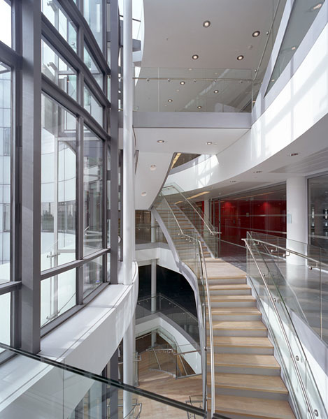 "BBC New Broadcasting House, Portland Place, London, Sheppard Robson Architects: ""Cyclorama"" stairs.37/48"