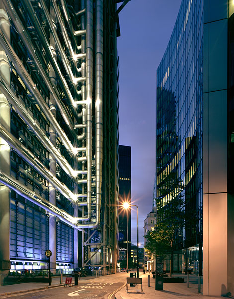 The Lloyds Building, London, by the Richard Rogers Partnership: night view.43/48
