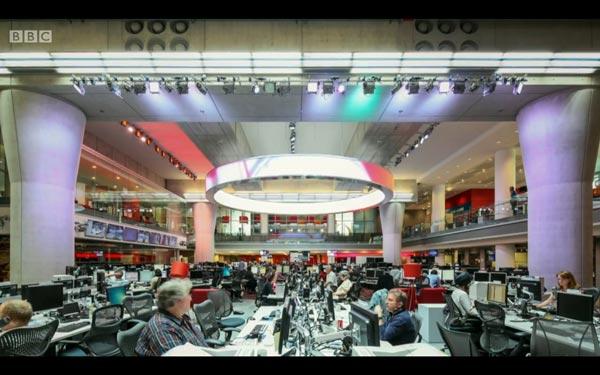 BBC newsroom photograph, W1A