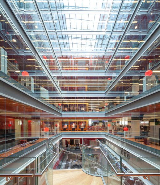 Interior Photography of central atrium and news rooms. 4 of 5