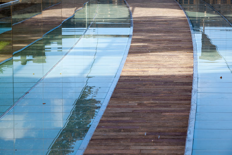 Bridge and walkway inlaid with stone and glass. 7 of 13