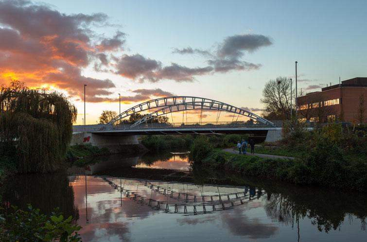 Bridge outline against the evening sky. 11 of 16