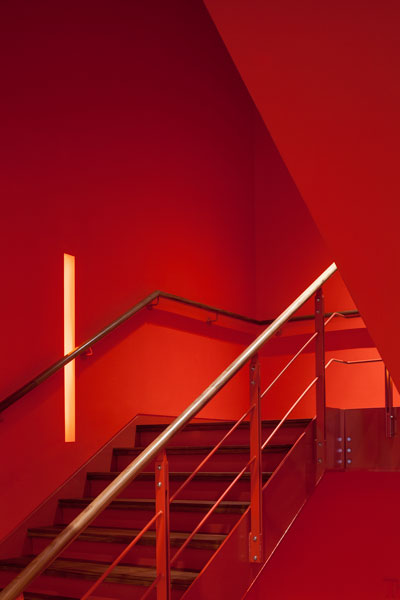 Interior photography of red staircase. 10 of 12