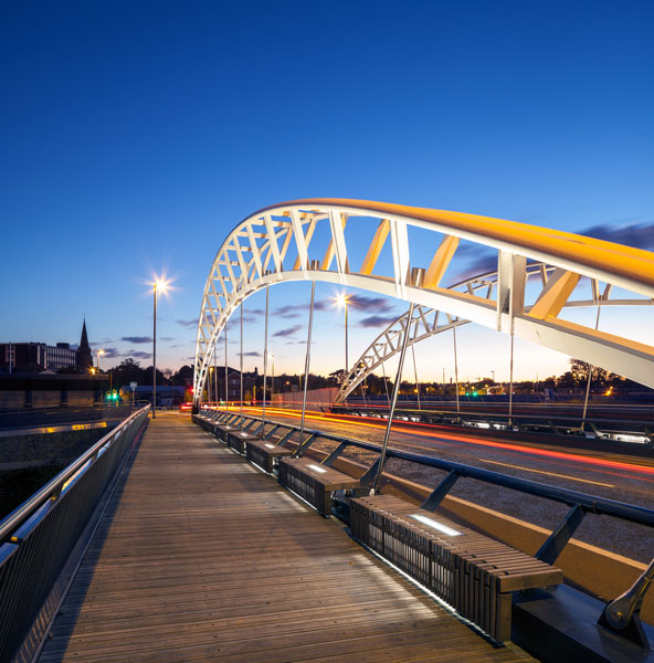 Time lapse photography of traffic passing over the bridge. 14 of 16