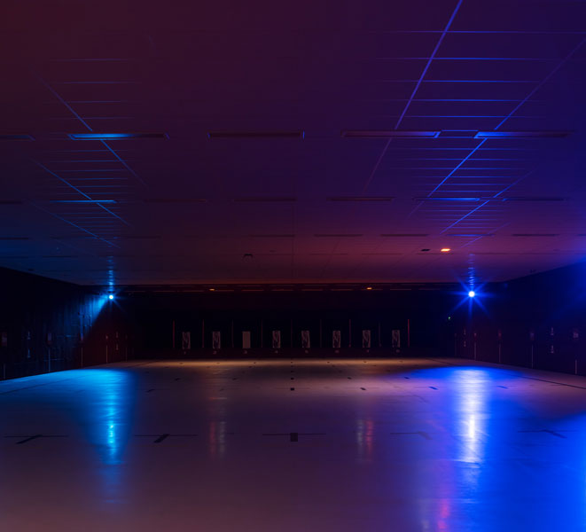 Fluorescent illumination of practice area. 7 of 14.