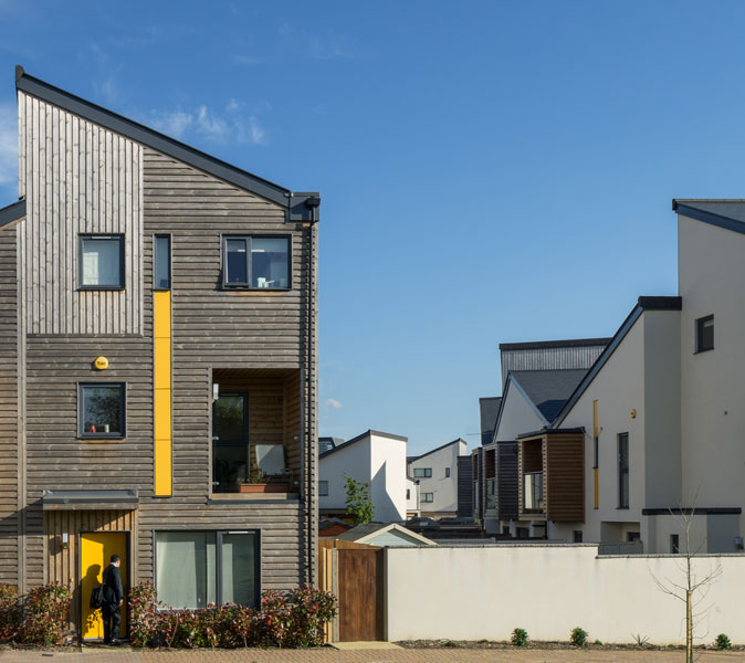 Articulated architectural cladding with yellow details. 10 of 12.