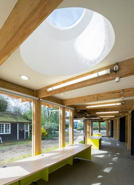 Interior showing open doors and light wells, 05 of 16