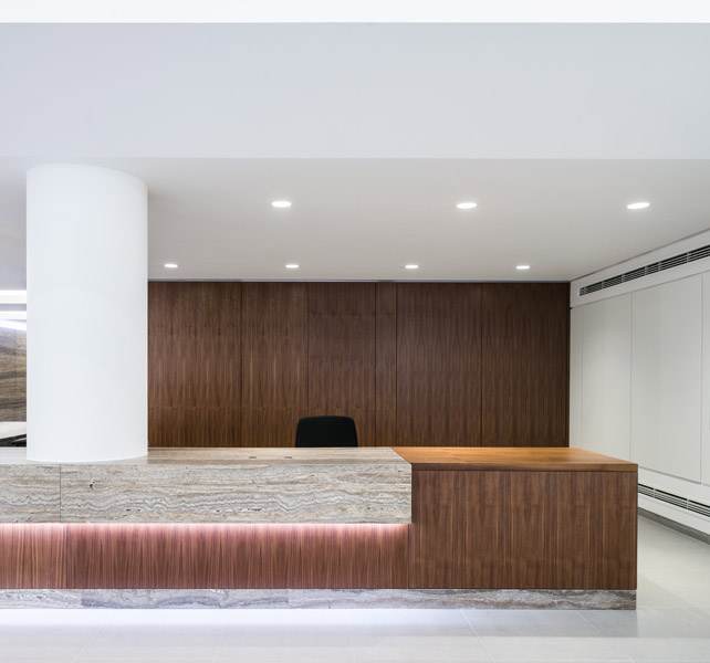 Timber and stone composition forming the entrance desk, 05 of 17