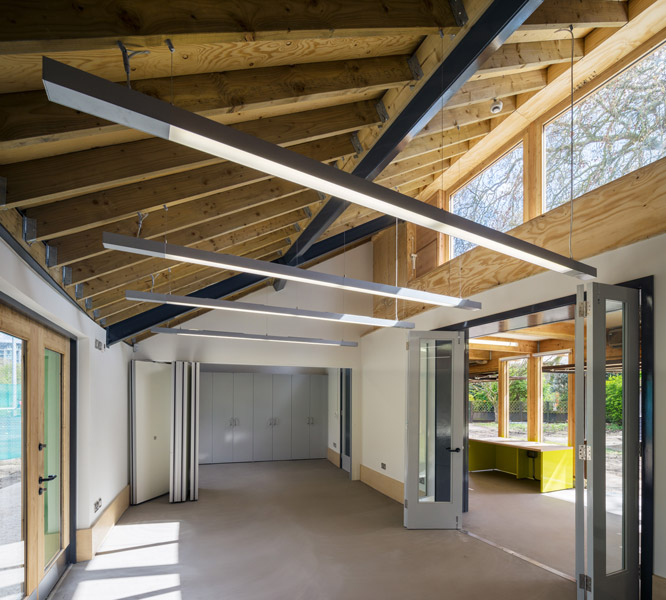 Interior office space showing clerestory and partitions, 06 of 16