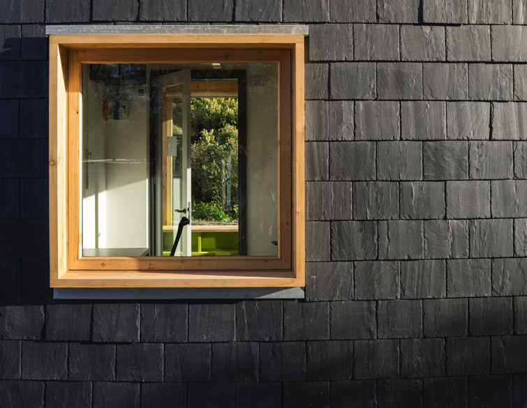 Exterior detail architectural photographer showing precisely hewn slate cladding, 07 of 16