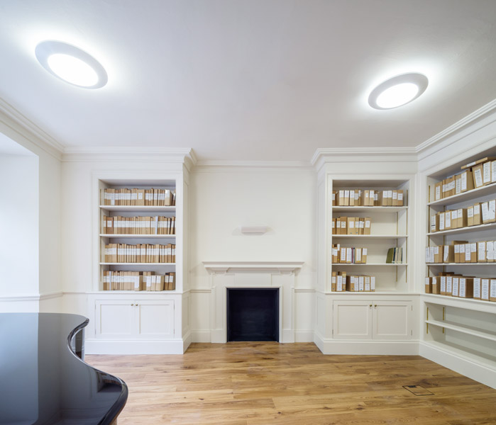 Recital room interior photographer, showing bespoke bookcases, 08 of 12