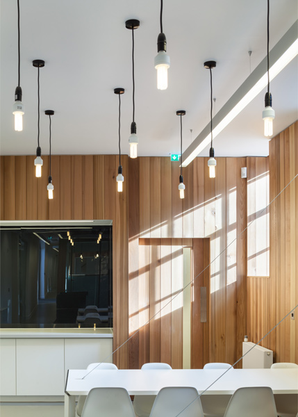 Interior timber cladding and meeting tables, 10 of 14