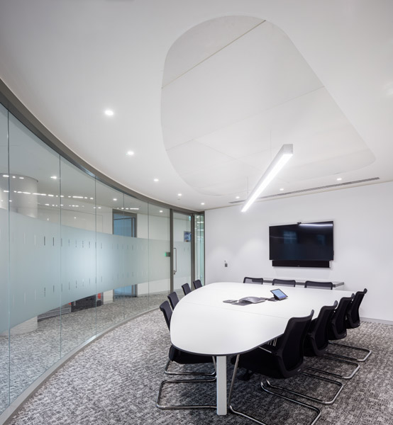 Curved meeting room showing bespoke table, 13 of 14