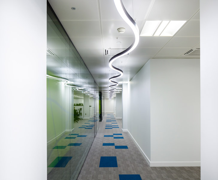 Internal corridor showing bespoke light-fittings, 13 of 17