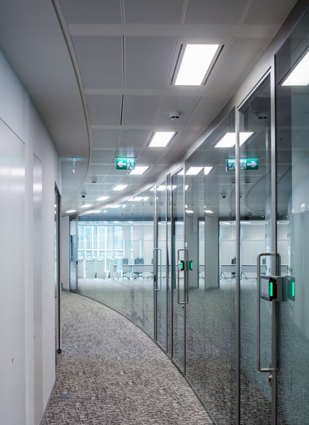 Curved glazed partitions along corridor, 14 of 14