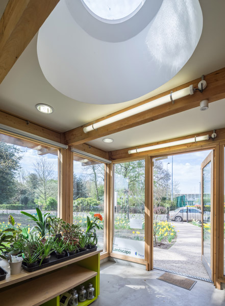 Interior shot showing plants and light well, 15 of 16