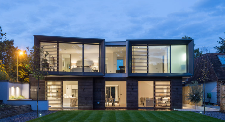 Bespoke private house photographed at night, 16 of 24