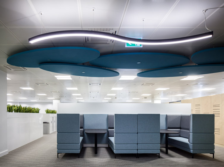 Seating area with booths and acoustic ceiling fixtures, 16 of 17