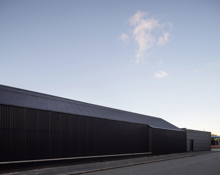 Exterior facade of corrugated steel cladding, 08 of 10
