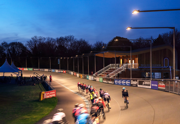 Herne Hill Velodrome night photograph, by Hopkins Architects, London, 25 of 28
