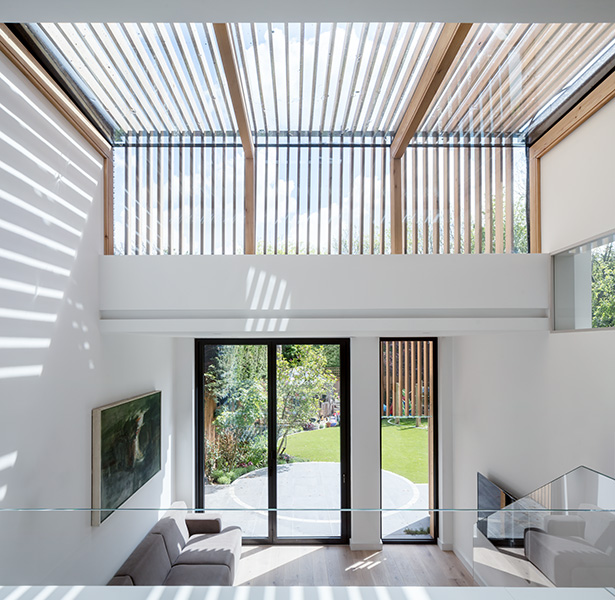 Interior photo shwoing the high ceilings, and timber external shading slats, 01 of 07.