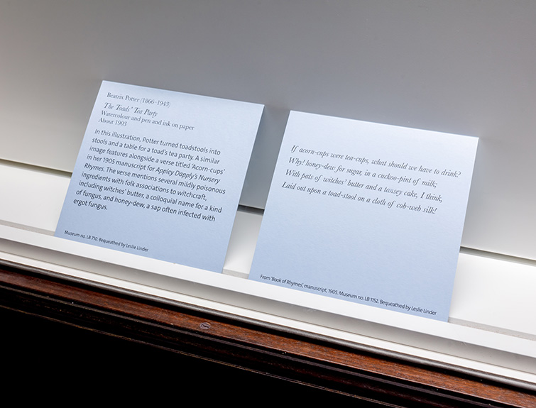 Custom-designed typefaces on information cards within the exhibition, 02 of 07.