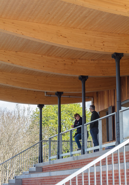 Photography showing the brick plinth, glulam  beams and timber soffit, 03 of 14