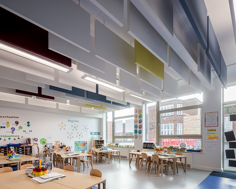 Classrooms are light and colourful and feature acoustic modelling, 03 of 05.