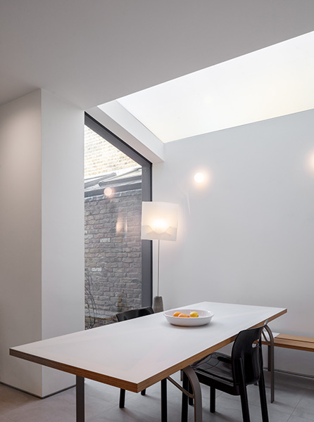 Dining area features rooflight and furniture designed by the client, 03 of 08.