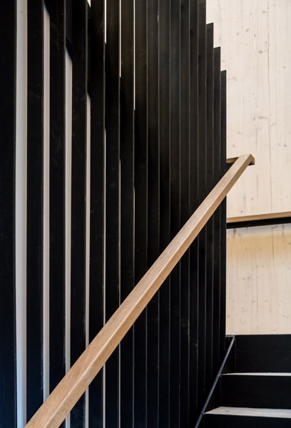 Stair case showing steel balustrading and timber handrail, 03 of 16.